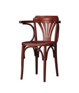 132, Light chair in curved beech, with armrests, for bars