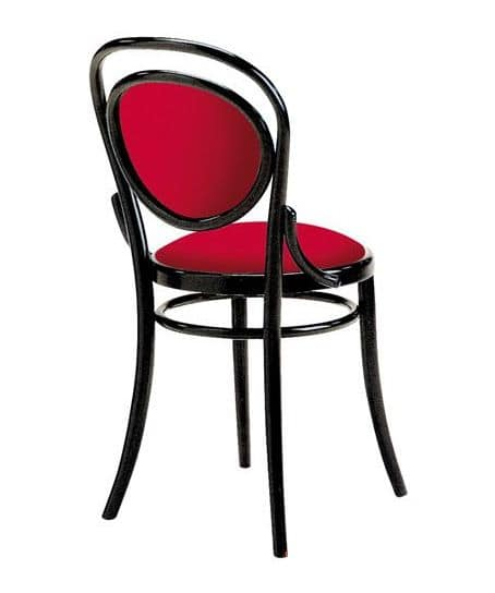 2003, Vienna style chair in wood, padded seat and back