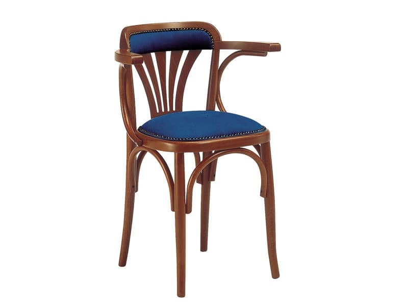620, Wooden chair with padded seat, for bars and pubs
