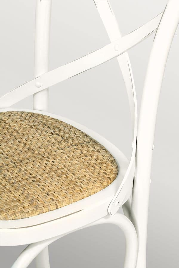 Ciao Imb Antique white, Chair in curved wood, straw woven seat