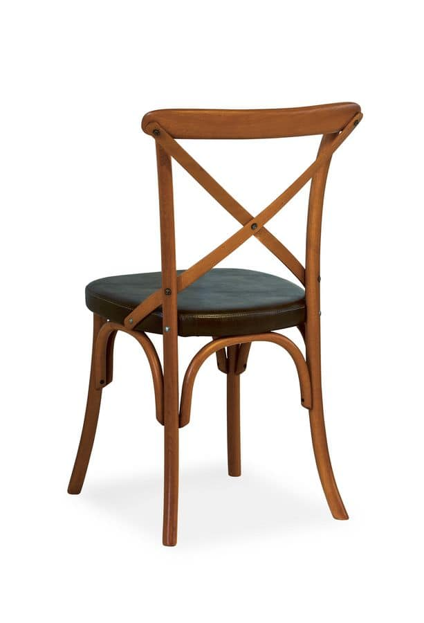 Ciao TI, Chair in beech, seat covered in faux leather