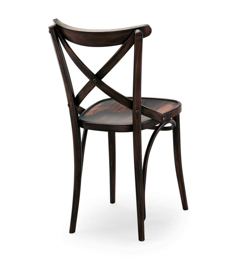 Croce, Wooden chairs without armrests, for restaurant and bar