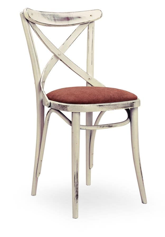 Croce Imb, Chair in solid wood, upholstered seat