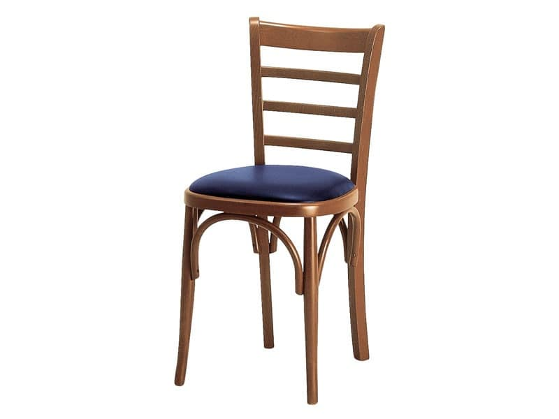 H/a, Padded chair with wooden backrest with horizontal slats