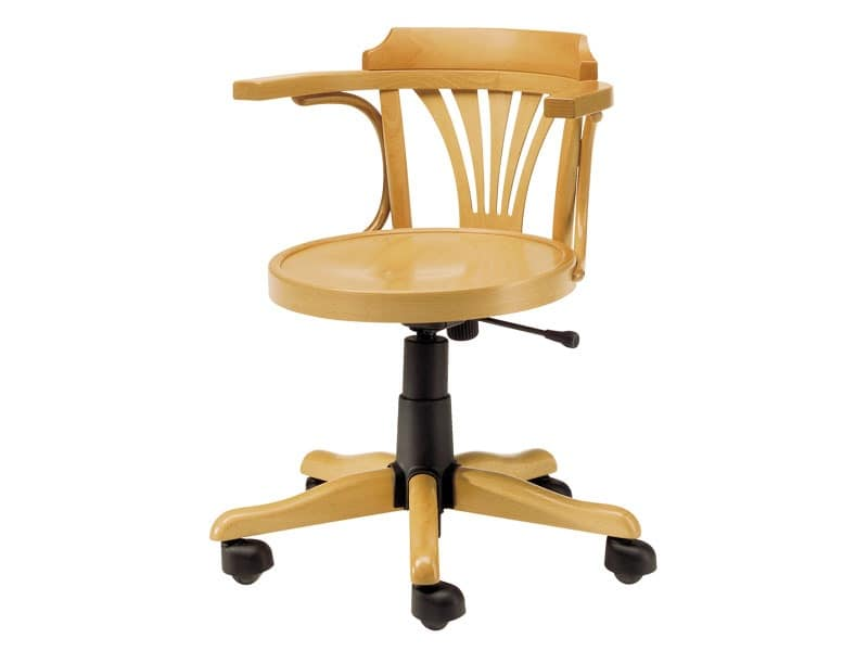 Londra, Wooden chair with wheels, adjustable height