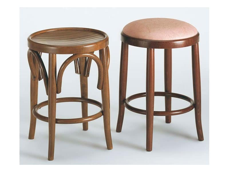 130, Rustic wooden stool, various versions, for snack bars