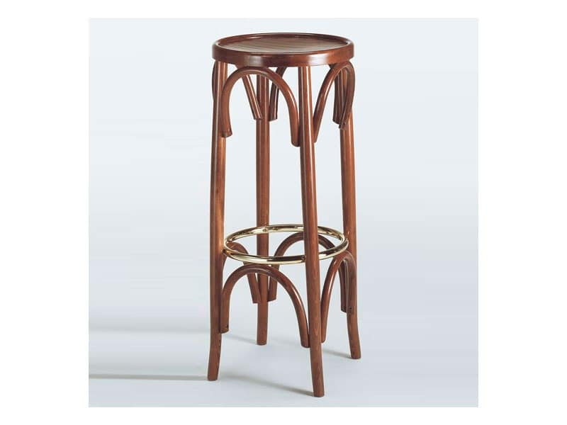 131, Round stool, in curved wood, with metal footrest