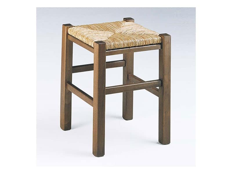 173, Rustic square stool, with straw seat, for wine-bar
