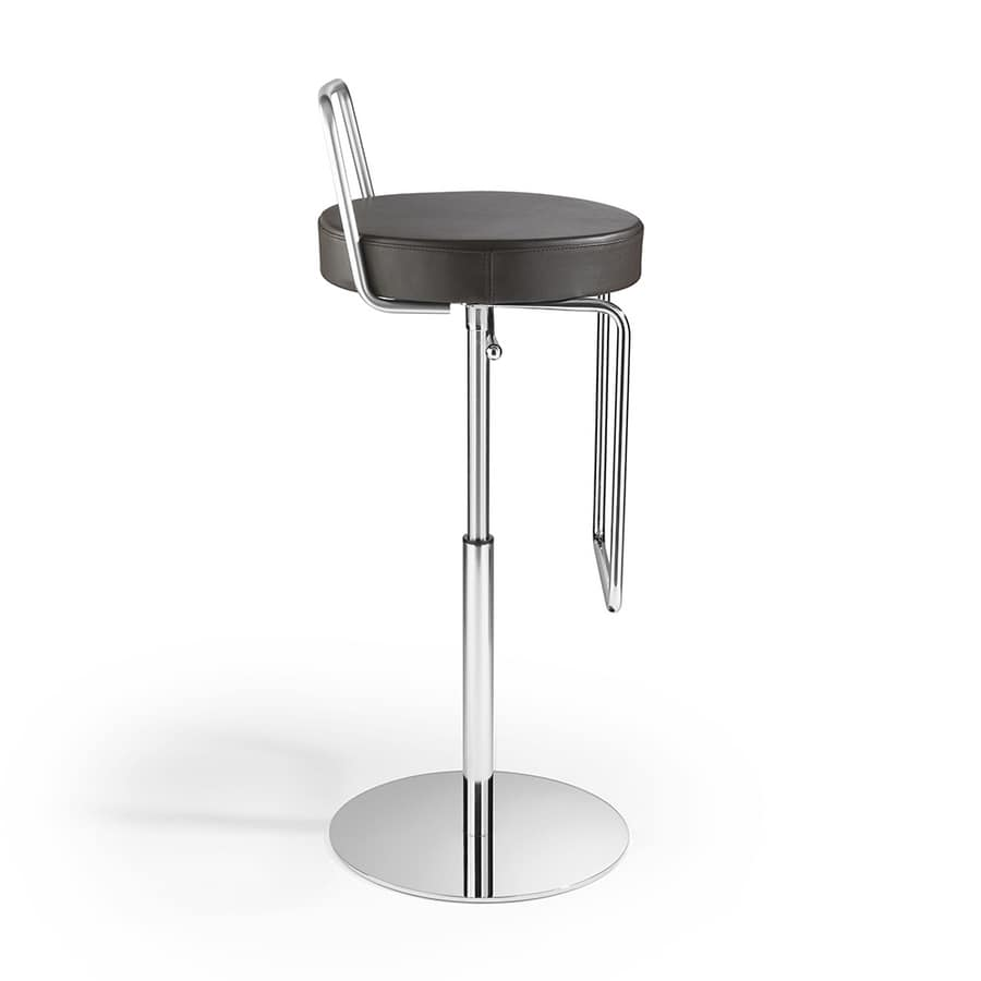 Tuck SG with backrest, Leather stool, with backrest, adjustable height