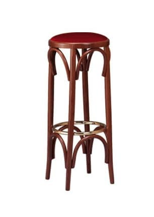 V06, Barstool in curved wood, round upholstered seat