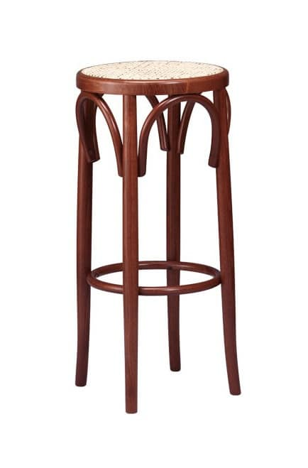 V07, Round barstool in beech wood curved, for Saloons
