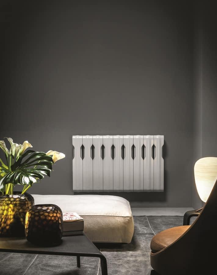 Agorà, Modular radiator, in aluminum, with sinuous line