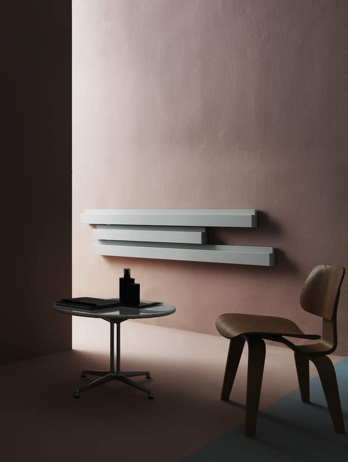 Rift, Elegant modular radiator, accessorized with shelves and towel stand