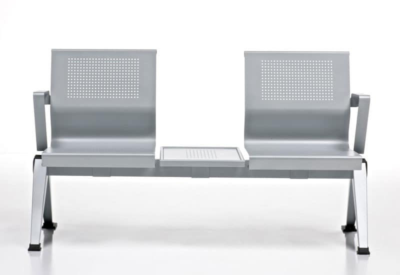 Aira, Bench in painted aluminum sheet for Waiting rooms