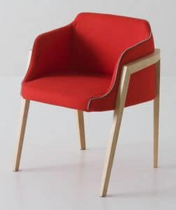 Chevalet BL, Design upholstered armchair with beech wood legs