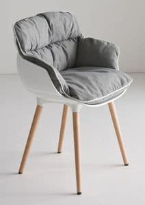 Choppy BL, Design armchair with 4 legs in beech, polymer shell
