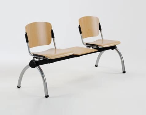 Cortina movable bench with table, Metal bench with plywood seats for waiting rooms