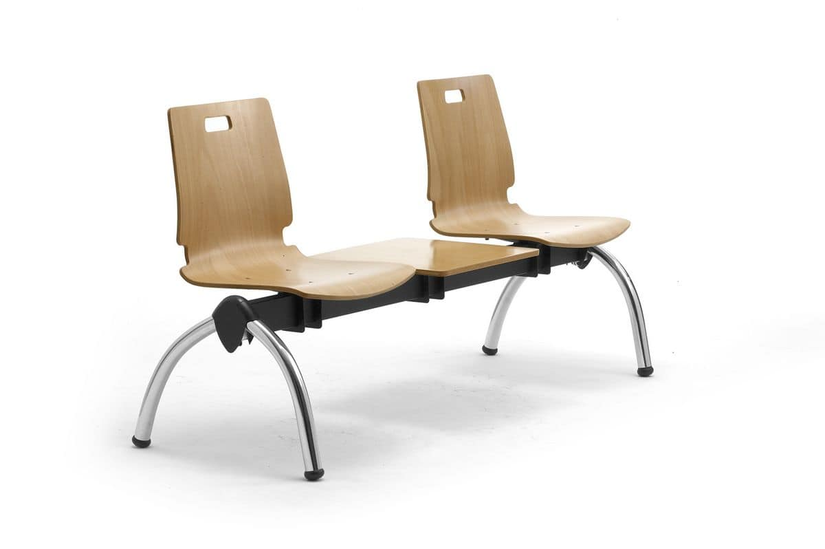 Cristallo bench with table, Bench with plywood seats, for waiting rooms