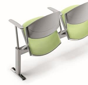 DELFI A086, Chair on beam, padded seat, for waiting rooms