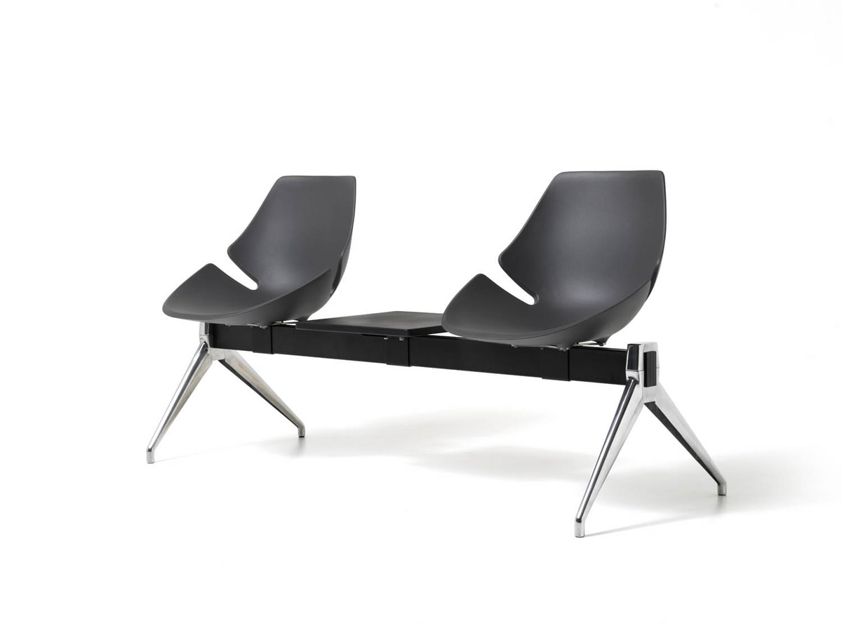 Eon bench, Seat on beam, in aluminum and plastic, for waiting room