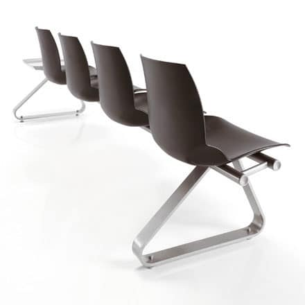 Kaleidos beam, Modular bench with polymer shell, for waiting rooms