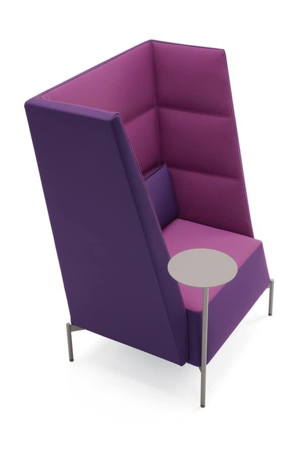Kendo armchair high backrest, Armchair for waiting areas, with high backrest