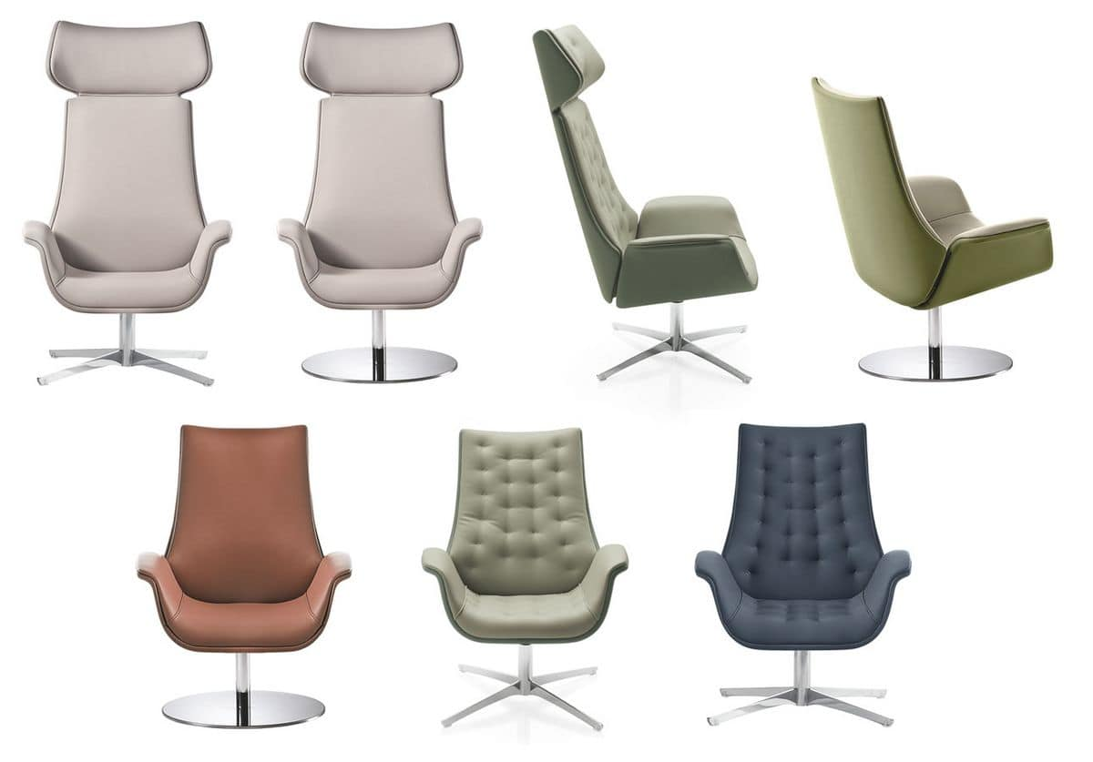 Kriteria Waiting, Swivel armchair for office, quilted padding