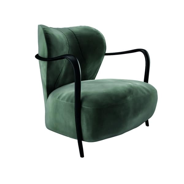 Lady Bug armchair, Armchair with armrests and frame in solid wood