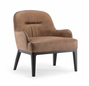 LOTUS LOUNGE CHAIR 063 P, Armchair with solid wood legs