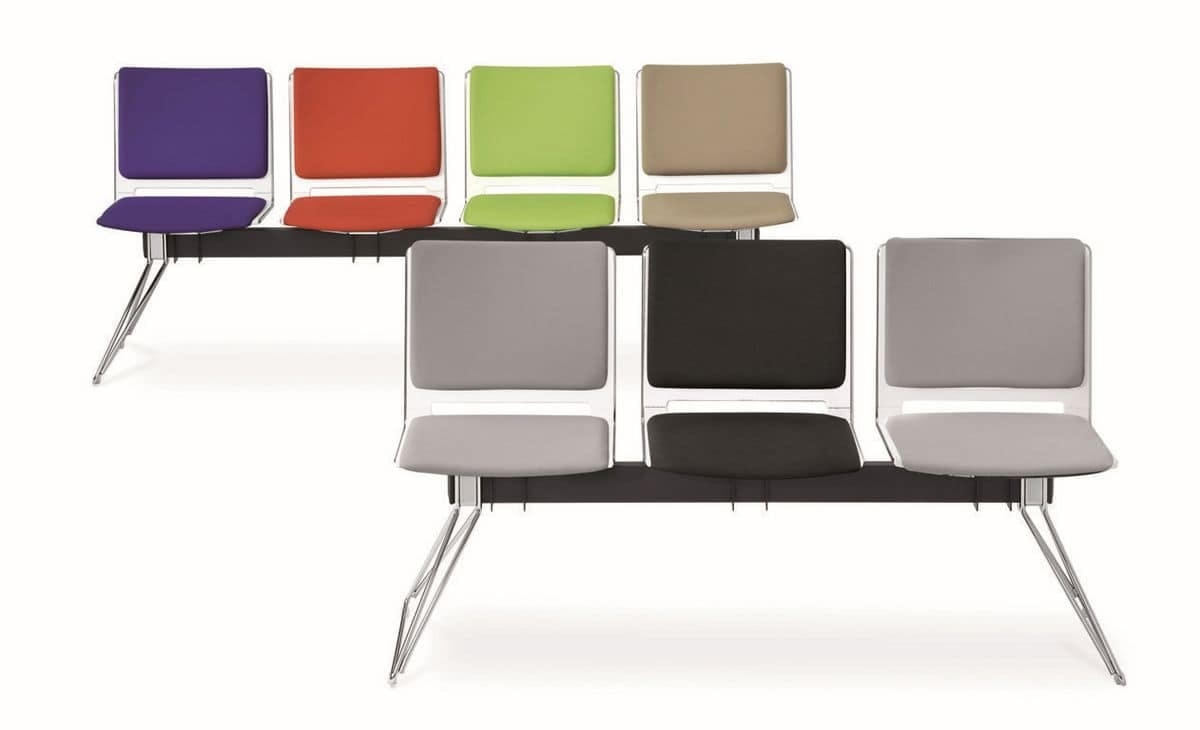 Multi bench, Modular bench, lightweight design, for waiting rooms