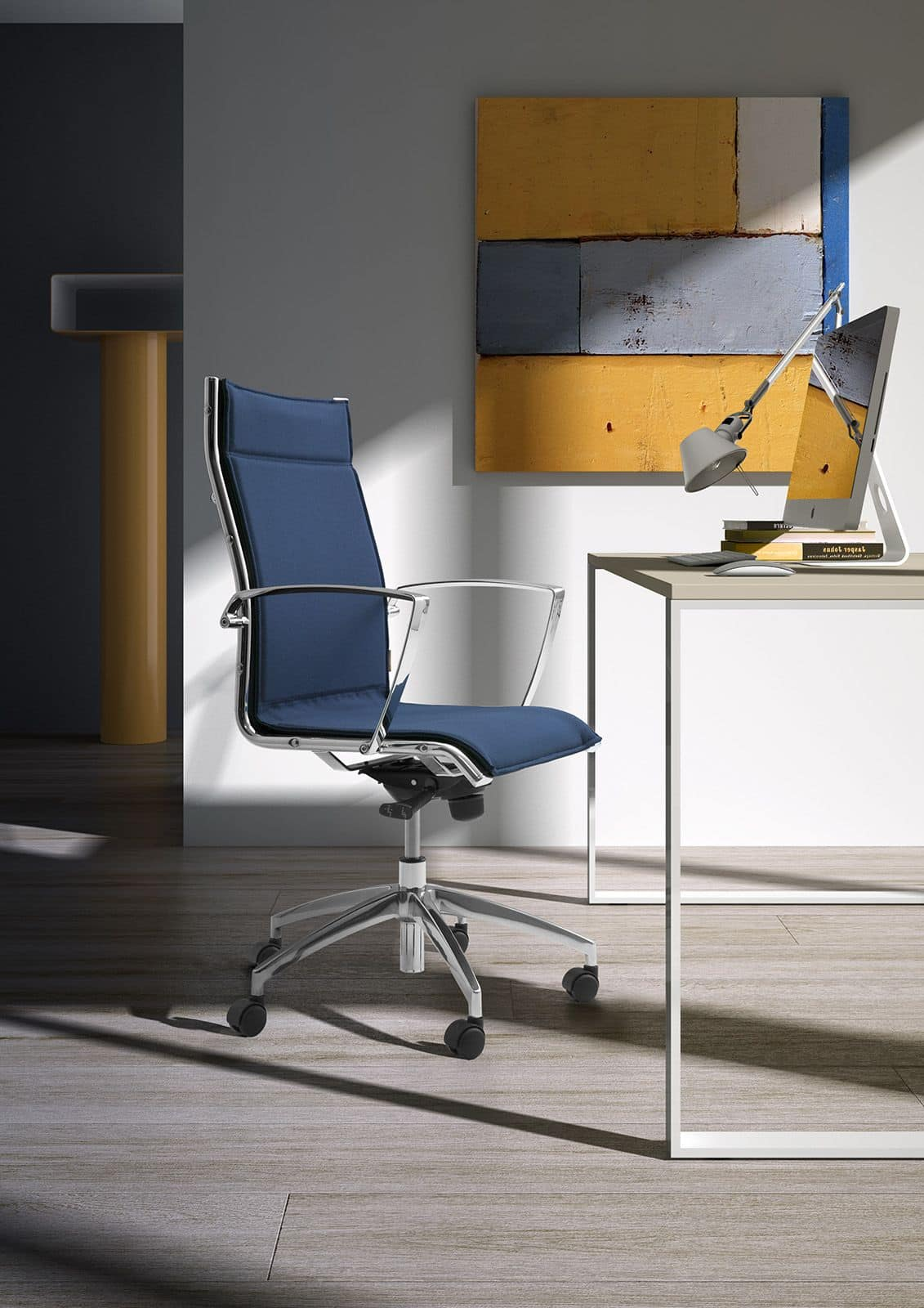 Origami LX, Padded chair for office with chromed armrests