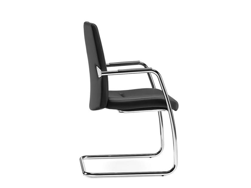 PASSPORT, Waiting chair, upholstered seat and back, chromed sled frame