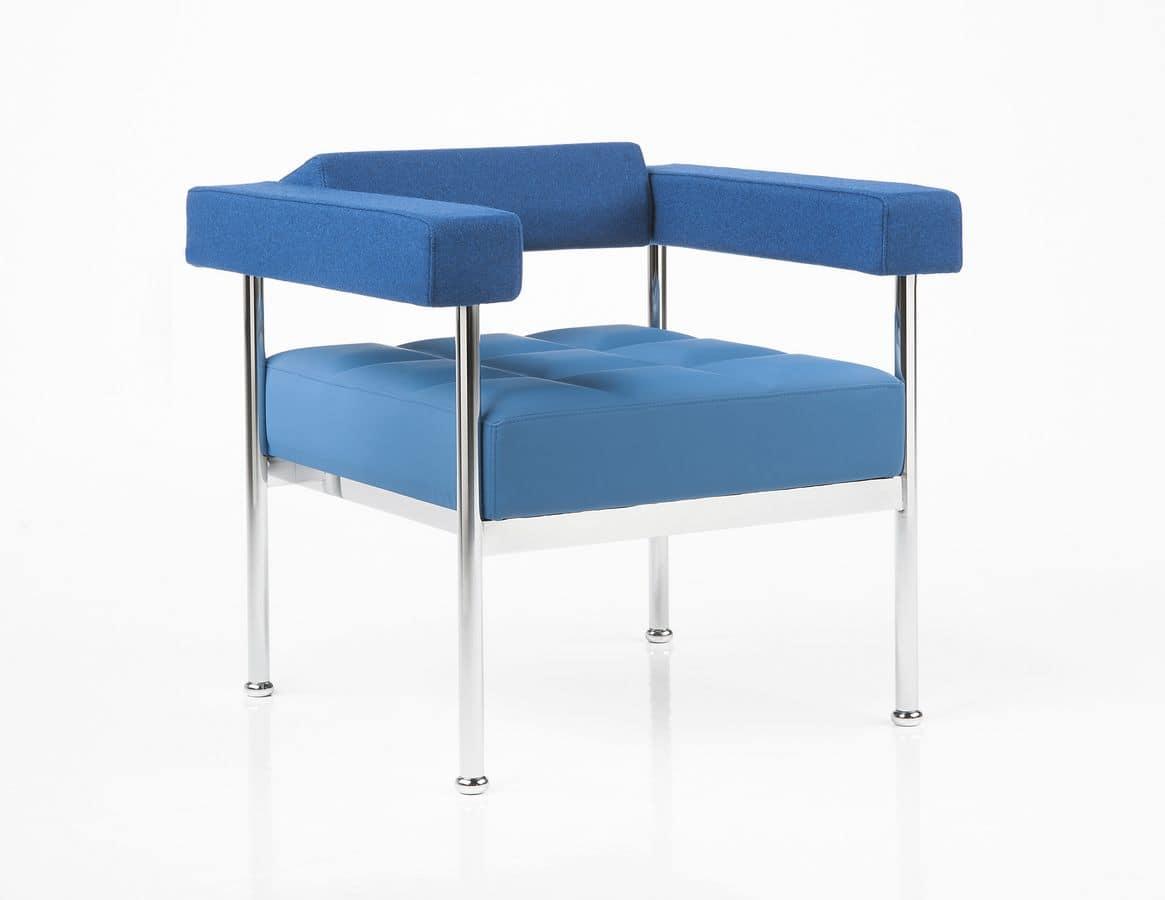 Qubiq, Modern armchair, chromed metal frame, waiting rooms