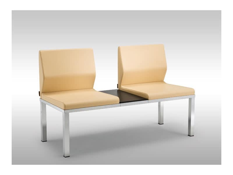 Tre-Di 2 seats sofa with table 9990310, Bench with upholstered seats and a table for waiting rooms