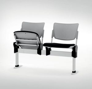 UF 104 - BENCH, Beam chair with folding seat, made in Italy