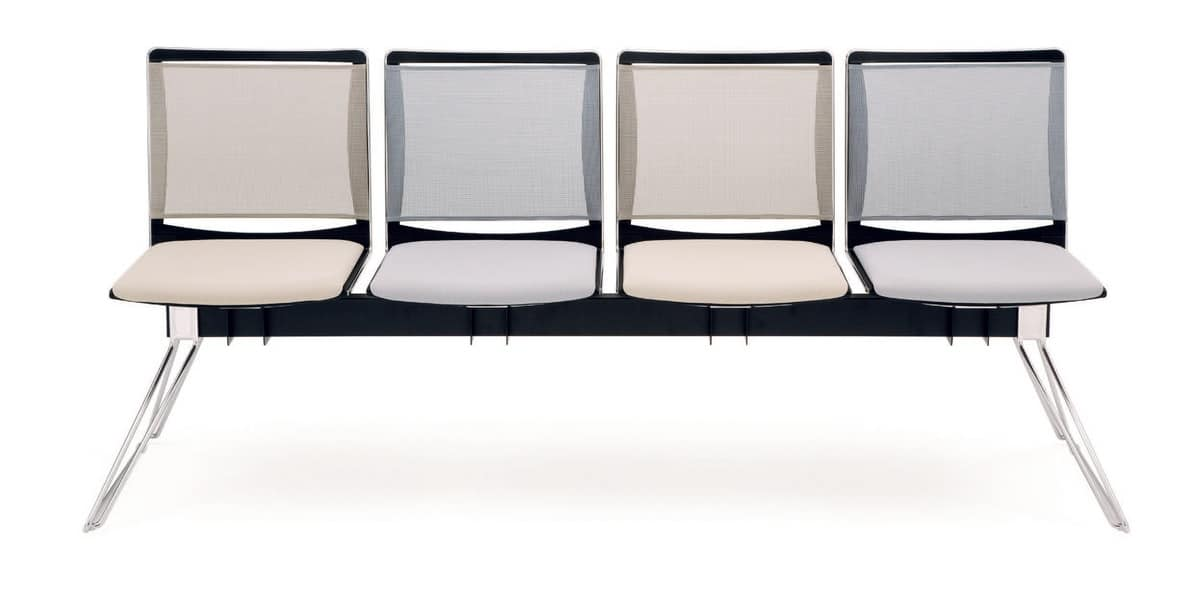 UF 177 BENCH, Beam chair with mesh backrest, in different colors