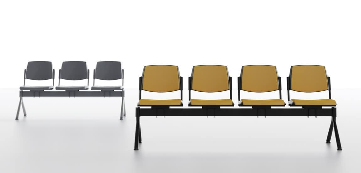 Wampa Bench, Seat on beam for waiting rooms, in polypropylene