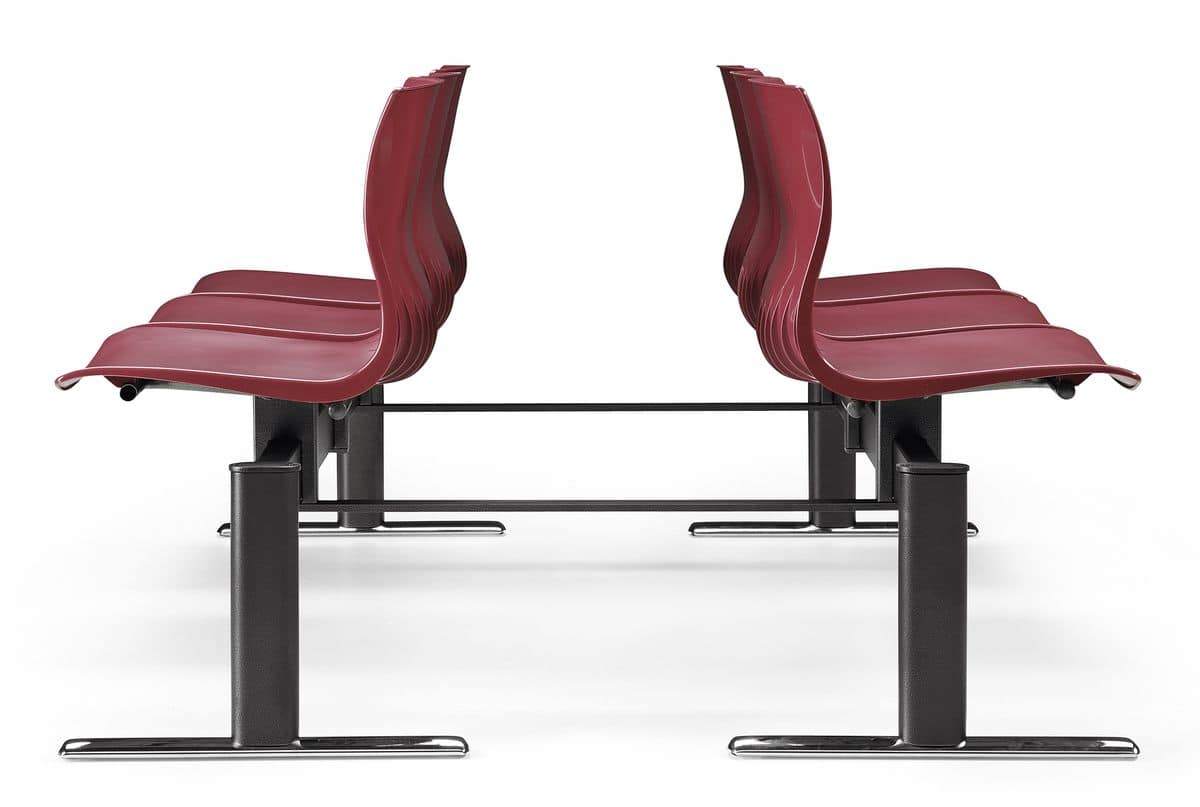 WEBBY 336 B, Chair on beam with nylon shell, for waiting rooms