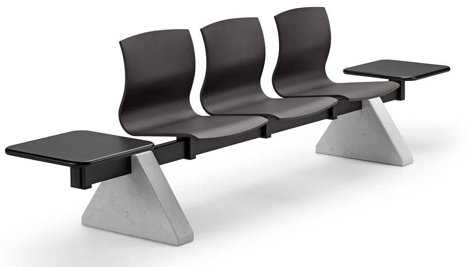 WEBWOOD 357 B3T2 + OPT, Bench for waiting areas with 3 seats and 2 tables