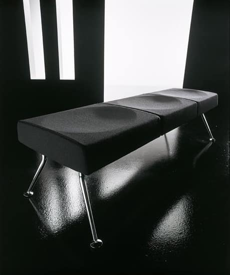 Ypsilon bench, Bench for waiting room, in metal and fire-retardant polyurethane