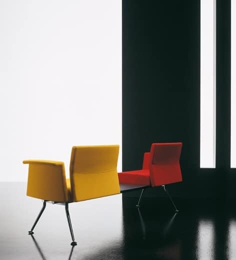 Ypsilon element, Metal bench, with armrests and table, for waiting room