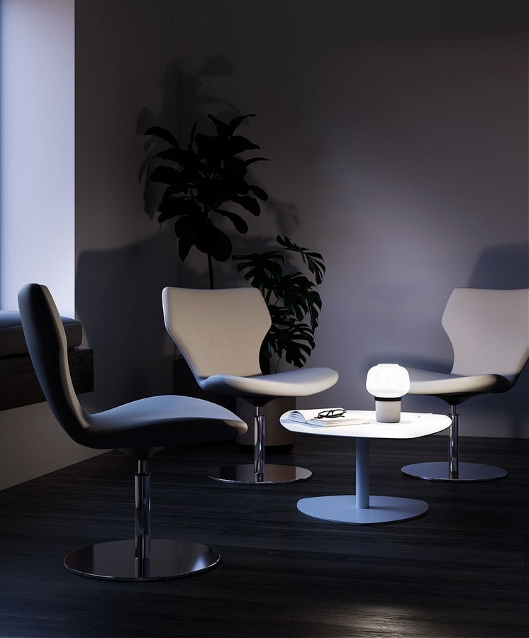DAMATRÀ, Swivel armchair with disc base for waiting rooms