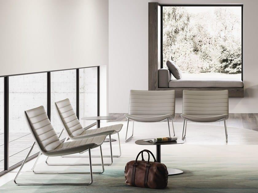 DAMATRÀ, Lounge armchair with sled base