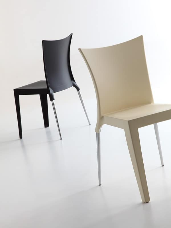 Jo, Elegant design chair, polypropylene seat and backrest, both for indoor and outdoor use