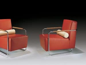 Helen, Armchair with metal visible frame, back cushion