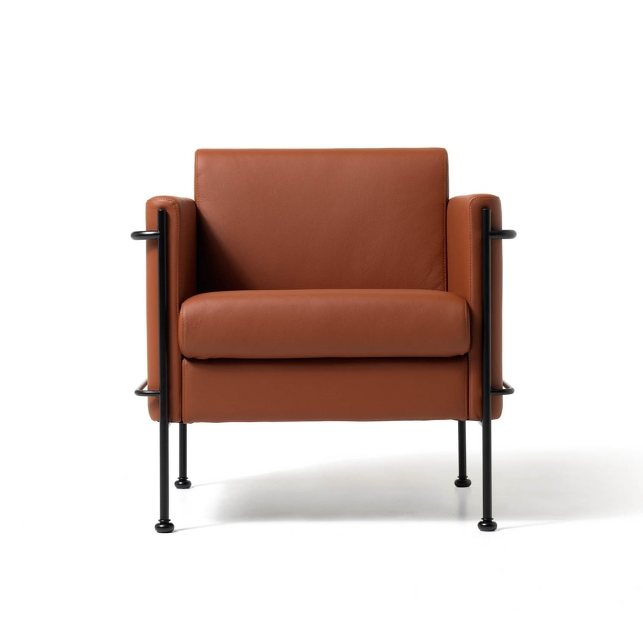 Jazz 1p, Overstuffed chair, visible steel frame, for living room
