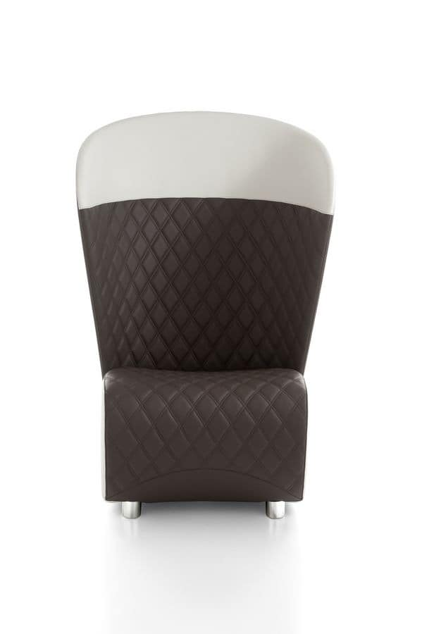 Koccola Top, Armchair with quilted fabric, high backrest