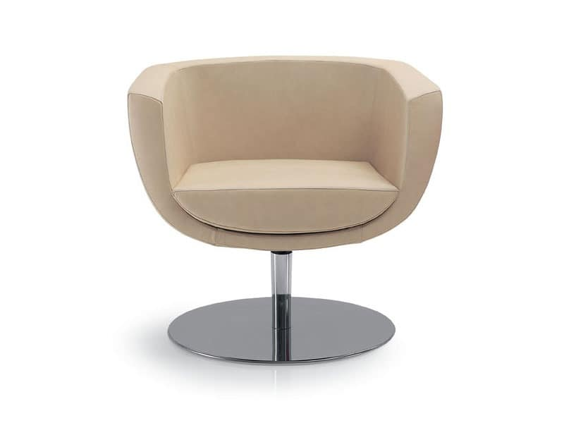 Koppa, Upholstered Armchair with steel base, for waiting room