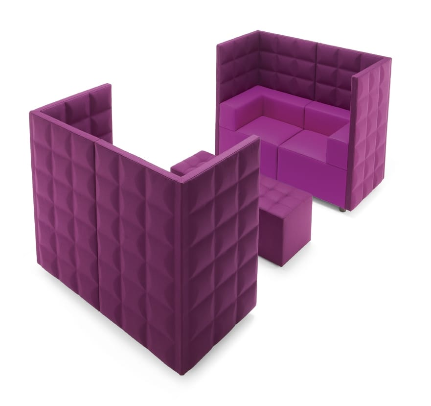 Kuadra Top, Modular high-backed armchair, for waiting room