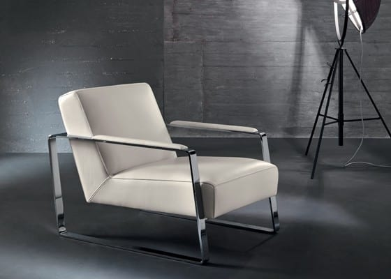 Mika, Armchair for waiting and reading area, metal armrests